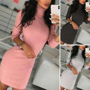 Women's Casual Dress Knitted Sweater Sexy Mini Bodycon Turtleneck Slim Dresses