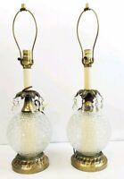 Vintage diamond cut glass Table LAMP CRYSTAL PRISMS Hollywood Regency pair
