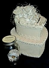 Off-White Heart Shaped Cake Wedding gift card box w/ Wish Jar and Wish Tickets.