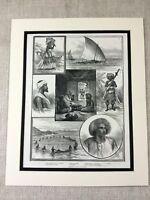 1887 Stampa Fiji Isole Tradizionale Costume Abito Culture Antico Originale