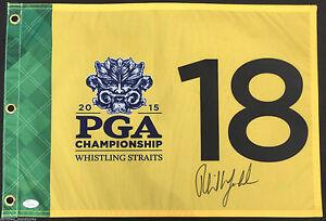 PHIL MICKELSON SIGNED 2015 PGA CHAMPIONSHIP FLAG 2021 MASTERS PROOF JSA K64