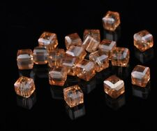 30pcs 6mm Cube Square Faceted Crystal Glass Charms Loose Spacer Beads Gold Amber