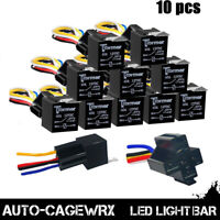 10Pack 12V 30A Fuse Relay Switch Harness Set SPST 4Pin 12 AWG Hot Wires
