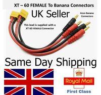 XT60 FEMALE Connector to 4mm Banana Plug Battery Charging Cable Lead RC lipo ESC