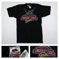 Vtg 90s Universal Studios Florida Neon Raised Puff Logo T-shirt Size Large Black