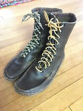 Vintage Brown Leather Mukluks Work Boots Mens 9-9-1/2 Moc-Toe Snow Winter Shoes