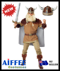 Viking Costume Mens Nordic Medieval Warrior Fancy Dress Barbarian Outfit Cosplay