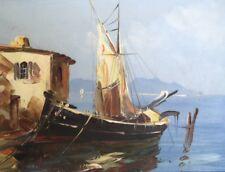 """André Salomon Le Tropézien """" Bateau à quai""""-huile/ toile . v 215"""