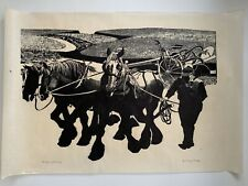 Large 1988 Danny Pierce Woodblock Woodcut Print End of the Day Edition 1/10
