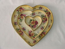 Vintage Love Heart Shape Trinket Tray Dishes ~ Robert Gordon ~ Yellow with Roses