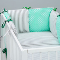 8 pc cot bedding set PILLOW BUMPER + PILLOWCASE + DUVET COVER grey stripes dots