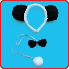PANDA BEAR HEADBAND+EAR+BOW TIE+TAIL - 3PC DRESS UP SET-COSTUME-COSPLAY 2