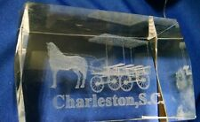 """Charleston, S.C. Paperweight Horse & Buggy / Wagon 3X2X2"""" Laser Etched Beveled"""