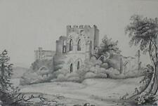 Man with his Dog Resting Before Castle Ruins Graphite Sketch Indstly M.A.H 1854