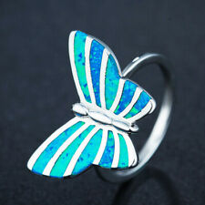 Womens Fashion Silver butterfly Blue Fire Artificial Opal Ring Jewelry size 8
