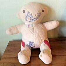 """Vtg Antique Patchwork Quilt Teddy Bear Stuffed Plush Estate Sale Primitive 15"""""""