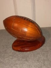 Wooden 3D Rugby Ball Puzzle. Brain Teaser.