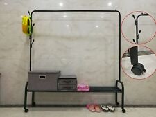 Heavy Duty Metal Clothes Rail With Shoe Rack Shelf Boxes Storage Hat Coat Stand