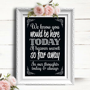 Chalkboard Effect Wedding Sign • Loved Ones In Heaven CS3