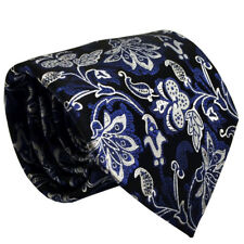 (TPS038) 8cm Silk Silver Blue Floral Men Necktie With Handkerchief Men Tie Set