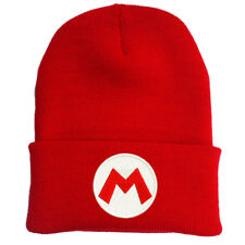 SUPER MARIO LUIGI BROS RED LOGO EMBROIDERED BEANIE HAT CAP HALLOWEEN COSTUME