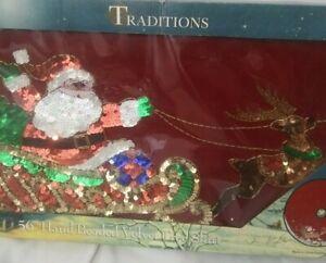 """Traditions Santa on Sleigh W/ Reindeer Tree Skirt Red Velvet 56"""" Beaded/ Sequins"""