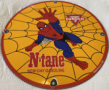 New ListingVintage Conoco Gasoline Porcelain Sign, Gas Station Pump Plate, Oil, Spiderman