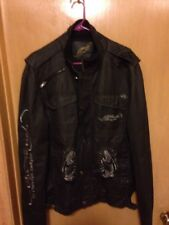 Ed Hardy Panther Rose gray Embroidered Jacket Size L