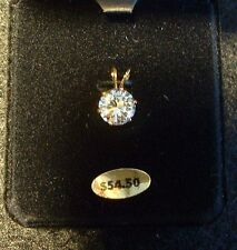 3 ct CZ Round Shaped Pendant set in Yellow Gold MIB