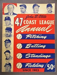 1947 John B. Olds' COAST LEAGUE ANNUAL PCL Pacific Coast League baseball
