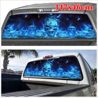 147x46cm Car Truck SUV Flaming Skull Rear Window Tint Graphic Decal Wrap Back