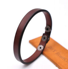 Fashion Simply Cool Genuine Leather Bracelet Cuff Wristband Snap Unisex Brown