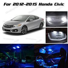 8x Super Blue LED Interior Lights & Backup Reverse For 2012-2015 Honda Civic