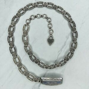 Brighton Silver Tone Vintage 1996 Engraved Heart Belly Body Chain Link Belt M