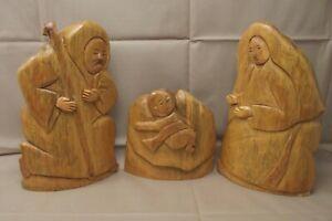 Nova Scotia Carved Nativity 3 Figure Set Joseph Mary Jesus Signed Ryerson 2009