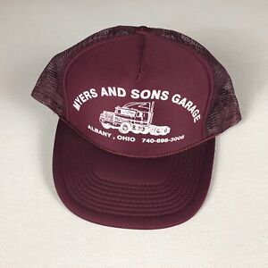 Myers And Sons Garage Double Snapback Hat VTG Foam Front Rope Cap Albany Ohio