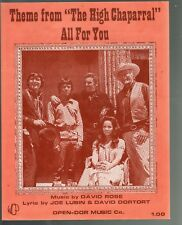 All For You Theme from The High Chaparral Television Series 1970 Sheet Music