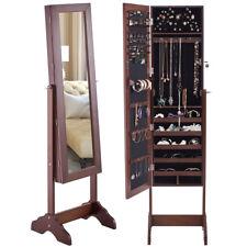 Mirrored Jewelry Cabinet Armoire Storage Organizer Box w/ Stand Christmas Gift