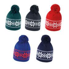 Fair Isle Pattern Ski Snowboard Bobble Hat Beanie Knitted pom pom - unisex - new