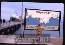Apr 2 1970 kodachrome photo slide ship  Stella Oceanis  Kusadai Pier Turkey