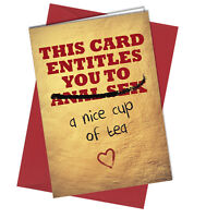 #881 Valentines Card / Birthday Card An*l Sex cup of tea / Love / Rude / Funny