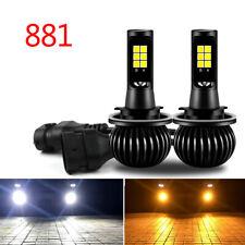 2 × White/Yellow LED Light 880/881 COB Bulb Dual Color Kit For Fog Light Car t.