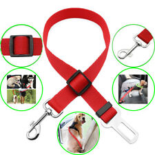 Universal Cat Dog Pet Auto Car Safety Seat Belts Adjustable Harness Lead Red