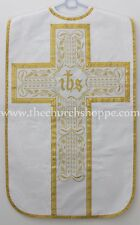 NEW WHITE Fiddleback Chasuble Mass Vestment WITH 5 PC SET CANVAS INTERLINED