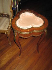 Antique Table Display Case Vitrine Curio  Inlaid  Beveled Glass With Bronze Trim