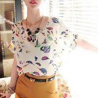 Women Girl Colorful Birds Chiffon Batwing Loose Blouse T-Shirt Tops Casual S M L