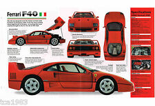 1987 - 1992 FERRARI F40 / F-40 SPEC SHEET / Brochure / Catalog / Flyer, 1991,