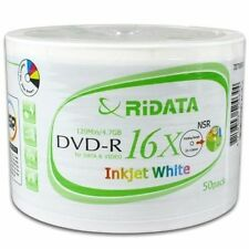 400 16X Ridata White Inkjet HUB Printable DVD-R Disc Free Expedited Shipping!