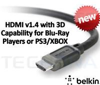 Belkin 1m v1.4 3D HDMI Audio Video Cable 1.4 3D HD-TV 1080p PS3 XBOX Lead Plasma