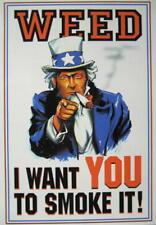 CANNABIS MARIHUANA MARIJUANA POSTKARTE POSTCARD # 34 UNCLE SAM I WANT YOU